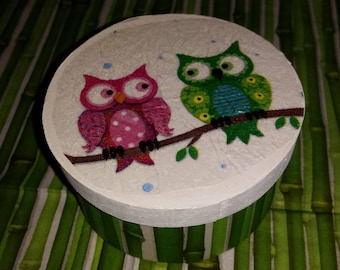 Small box round wood decor owls and bamboo