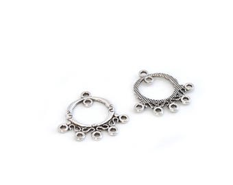 2 oval connectors for earrings in silver