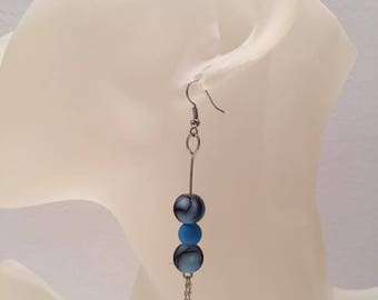 Blue chain Pearl Earrings