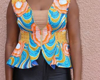 African Print Sleeveless Blazer by GoWoman