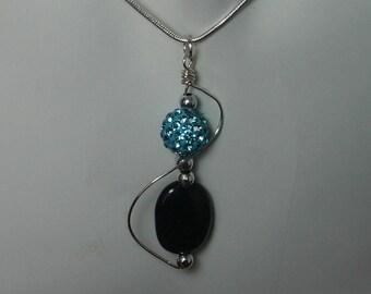 """""""Trebble key agate and Crystal Shambala"""" turquoise necklace"""