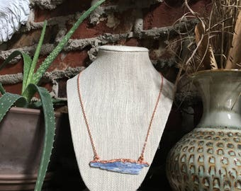 Blue Kyanite Elcectroformed Copper Necklace