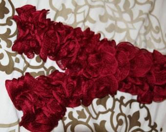 Red/Burgundy ruffled scarf