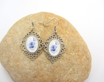 Blue butterfly glass cabochon earrings