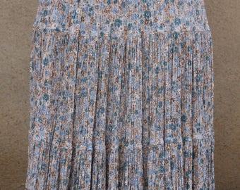 T 38-42 ruffled crepe floral printed skirt