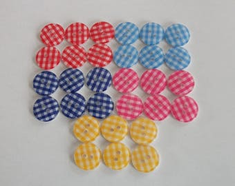 30 buttons (6 x 5) - gingham - mix - 15 mm - couture creations / doll / child