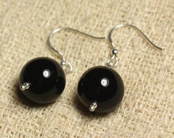 Earrings 925 Silver - Black Onyx balls 14mm