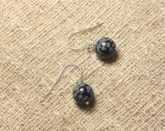 Stone - 10mm snowflake obsidian and 925 Sterling Silver earrings