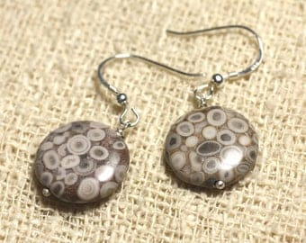 Jasper earrings 925 Silver - Ocean beads 16mm