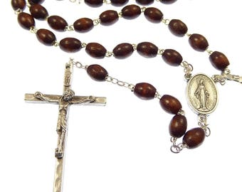 Brown wood extra strong Rosary