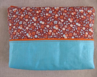 Wallet or pouch in linen and cotton blue and orange