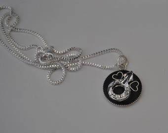 "Necklace ""I love my man"" 925 sterling silver and Swarovski Crystal"