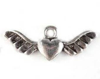 set of 10 heart Angel Wings charms