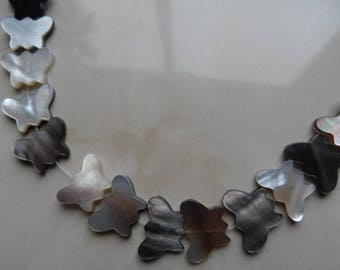 set of 5 real Butterfly beads 15 x 11 mm mother of Pearl
