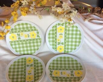 Rare Melmac vintage green dish set, yellow floral Melamine plates, Texas Ware, Retro green check dinner plates, picnic dishes, vintage plate