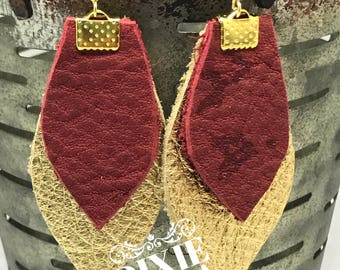 Florida State Leather Earrings