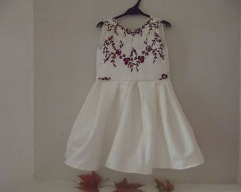 """Princess"" white satin cotton girl dress"