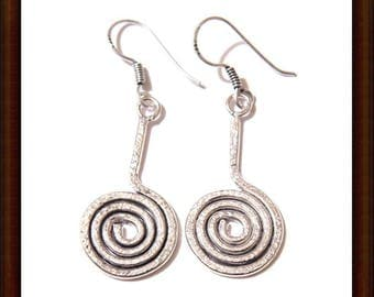 Earrings silver Sterling 925 Silver - spiral shape - 55 mm