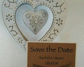 Rustic Save The Dates in Rcycled brown card
