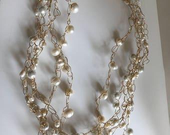 Crochet wire 5 strand pearl necklace