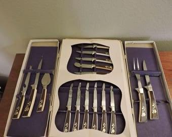 Vintage Stainless Steel Knives Regent Sheffield Golden Prestige Cutlery Steak Set Kitchen Hostess Chef Dessert Serving Tableware Flatware