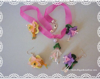 Jewelry set: necklace with organza flowers and beaded earrings