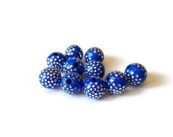 Blue dots round beads silver 8mm