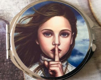 Compact Pocket mirror with two mirrors inside silver girl secrets