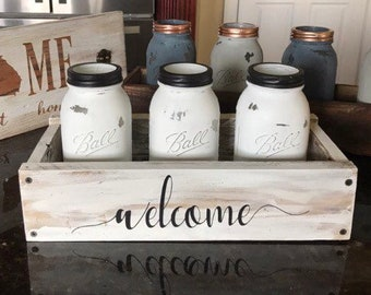 Ball Jar Centerpiece, Ball Jars in Tray, Painted Jars with Wood Tray,Table Decor,Mason Jars,Chalk painted jars,Whitewash tray,Stained Tray