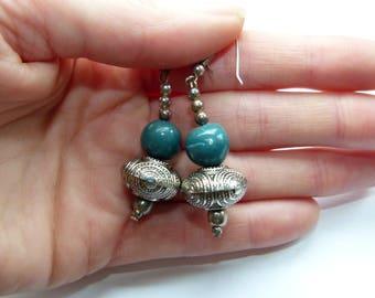 Silver dangle earrings, Polymer Clay earrings, handmade earrings, Dangly earrings, Bead earrings