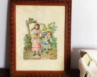Collage, découpage, découpis chromos ancienne encadré, cadre en bois, filles jouant au croquet