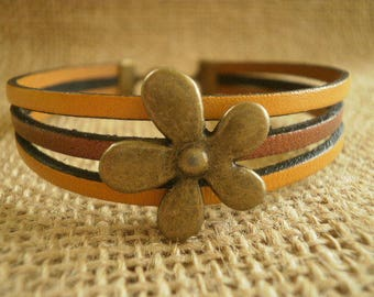Bracelet multi-row leather, copper and mustard color, flower charm brass, size 19.5 cm
