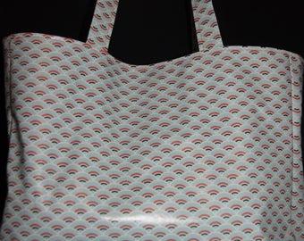 Waxed canvas geometric tote bag