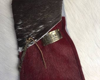 Red and Brown Hair on Hide Pouch