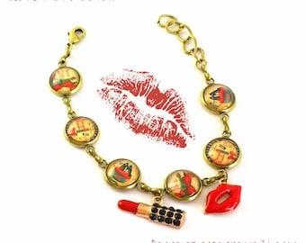 Bracelet retro vintage cabochons 14 mm