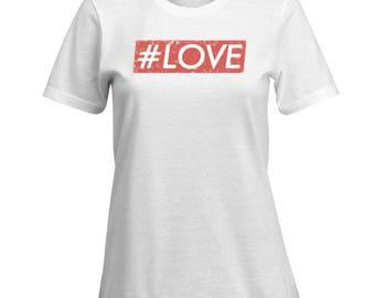 Hashtag Love Tshirt for Women #Love Romantic Cute Tee Shirt Top