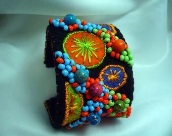 izzy felt Cuff Bracelet, green, orange, blue