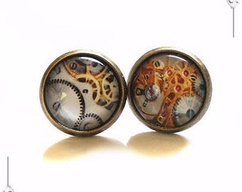 Steampunk glass Cabochon studs earrings
