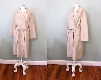 1960s Classic Beige Khaki Double Breasted Belted Trench Jacket / Medium