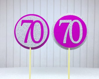 """70th Birthday Cupcake Toppers - Silver Glitter & Hot Pink """"70"""" - Set of 12 - Elegant Cake Cupcake Age Topper Picks Party Decorations"""
