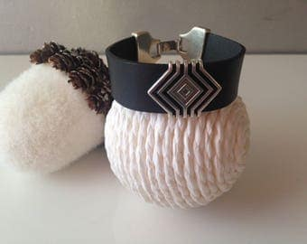 Charcoal grey leather with passing geometric Cuff Bracelet