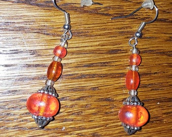 Earrings Orange trio of glass beads