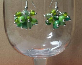 Green turquoise cluster earrings