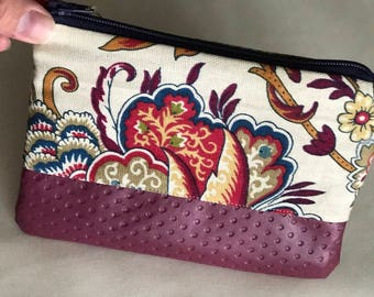 Floral/ Leather Clutch