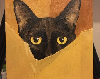 Pet portrait, Custom Made to Order Pet Portrait Oil Painting Dogs, Cats, Four legged, Two legged, and more! Black Cat