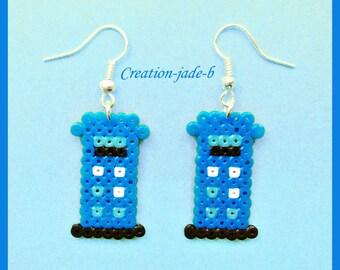 Earrings pendant Tardis Doctor Who cabin - pearls Hama Mini