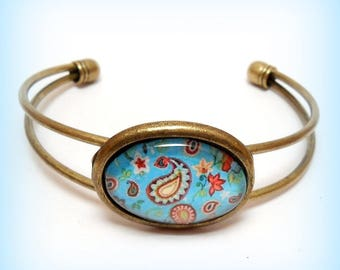 "Cabochon Bangle ""Cashmere and turquoise"""