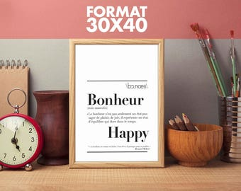 """Poster definition of """"Happiness"""" Format 30 x 40 cm"""
