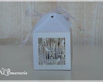 Set of 10 boxes favors baptism or wedding theme birds decoration