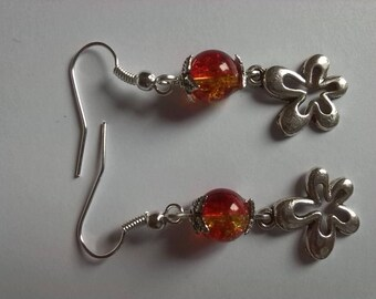 Silver flower and bead earrings